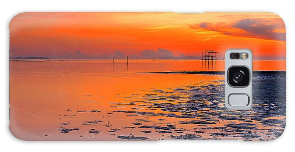Galaxy Case featuring the photograph Lonely Hut In Sea At Sunrise by Pradeep Raja PRINTS