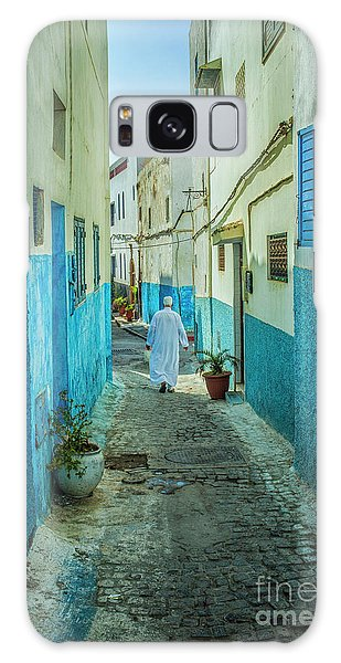 Man In White Djellaba Walking In Medina Of Rabat Galaxy Case by Patricia Hofmeester