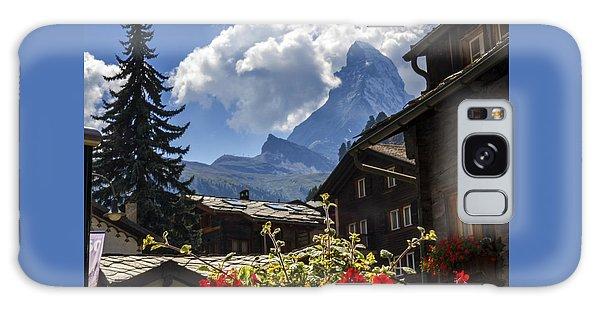 Matterhorn And Zermatt Village Houses, Switzerland Galaxy Case