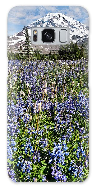 Meadow Of Lupine Near Mount Rainier Galaxy Case