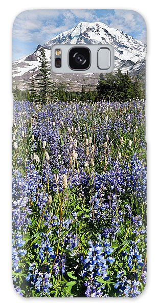 Meadow Of Lupine Near Mount Rainier Galaxy Case by Jeff Goulden