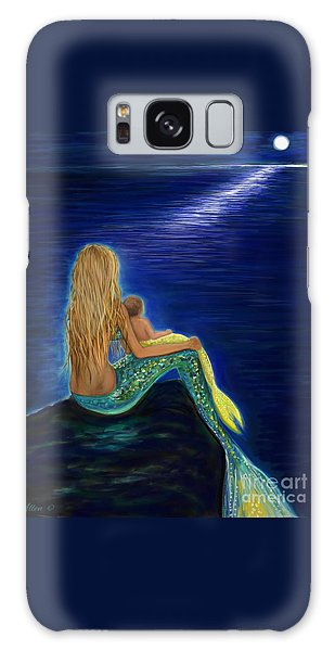 Galaxy Case featuring the painting Mermaids Sweet Babies Moon by Leslie Allen