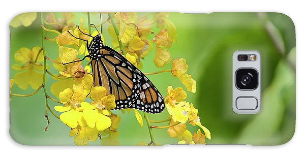 Monarch Butterfly On Yellow Orchids Galaxy Case