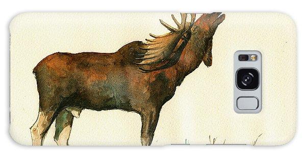 Bull Art Galaxy Case - Moose Watercolor Painting. by Juan  Bosco