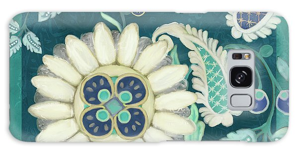 Galaxy Case featuring the painting Moroccan Paisley Peacock Blue 1 by Audrey Jeanne Roberts
