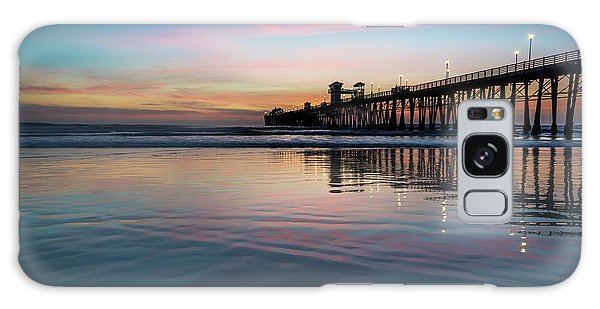 Pier Galaxy Case - Oceanside Pier Sunset by Larry Marshall