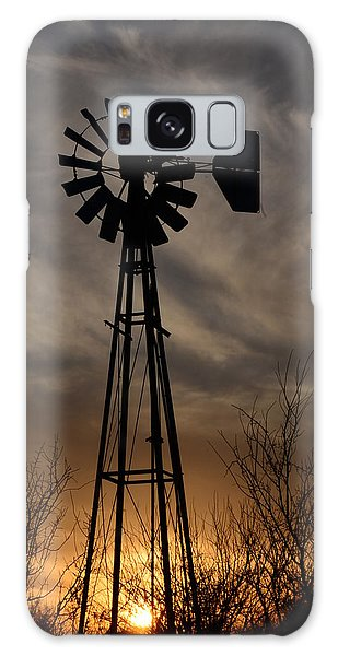 Oklahoma Windmill And Sunset Galaxy Case
