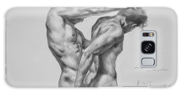 Original Drawing Sketch Charcoal Male Nude Gay Interest Man Art Pencil On Paper -0035 Galaxy Case