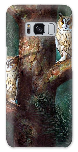Owls In Moonlight Galaxy Case