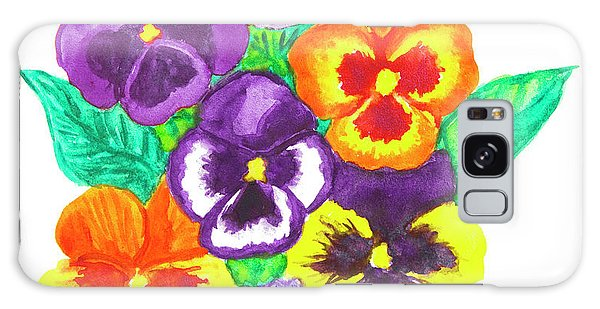 Pansies, Watercolour Painting Galaxy Case by Irina Afonskaya