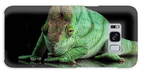 Parson Chameleon, Calumma Parsoni Orange Eye On Black Galaxy Case by Sergey Taran