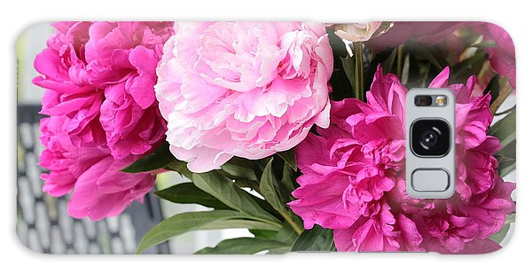 Vase Of Flowers Galaxy Case - Peonies On The Porch 2 by Carol Groenen