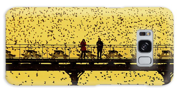 People On The Pier Sunset And Starlings In Aberystwyth Wales Galaxy Case