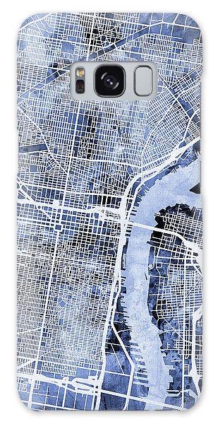 Philadelphia Pennsylvania City Street Map Galaxy Case by Michael Tompsett