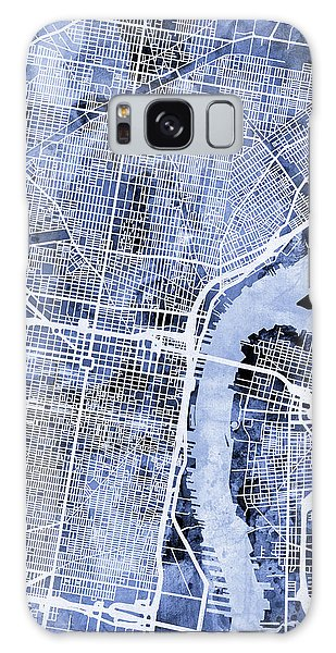 City Map Galaxy Case - Philadelphia Pennsylvania City Street Map by Michael Tompsett