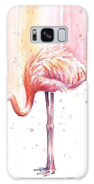 Pink Flamingo Watercolor Rain Galaxy Case