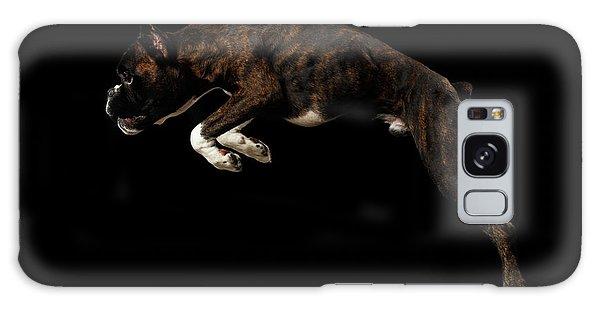 Purebred Boxer Dog Isolated On Black Background Galaxy Case