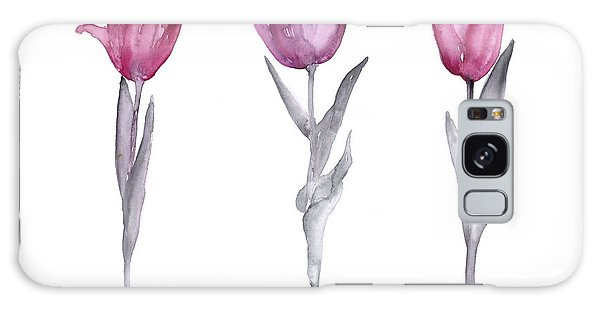 Gardens Galaxy Case - Purple Tulips Watercolor Painting by Joanna Szmerdt