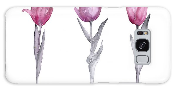 Tulip Galaxy S8 Case - Purple Tulips Watercolor Painting by Joanna Szmerdt