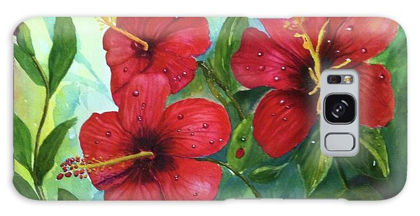 Red Hibiscus Galaxy Case