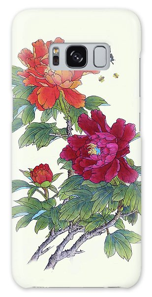 Red Peonies Galaxy Case by Yufeng Wang
