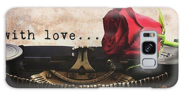 Red Rose On Typewriter Galaxy Case by Anastasy Yarmolovich