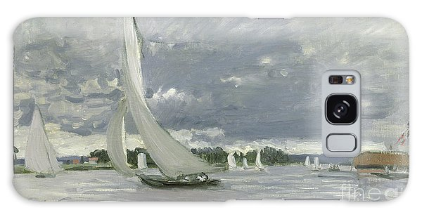 Docked Boats Galaxy Case - Regatta At Argenteuil by Claude Monet