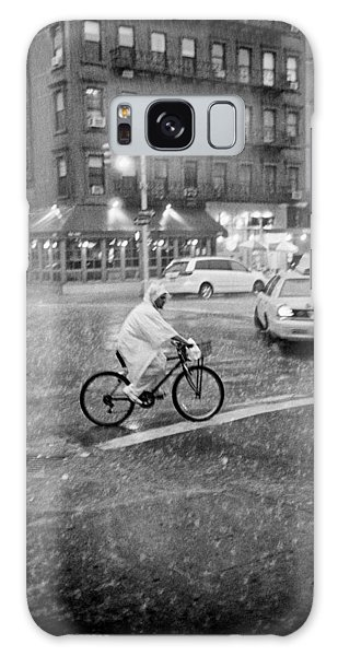 Galaxy Case featuring the photograph Rider In The Rain by Dave Beckerman