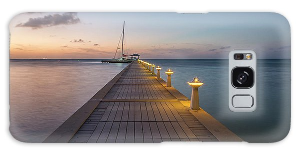 Galaxy Case featuring the photograph Rum Point Pier At Sunset by Adam Romanowicz