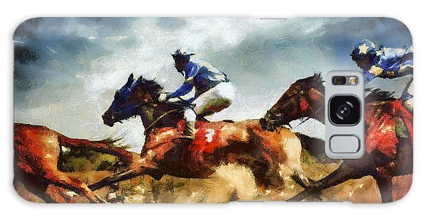 Galaxy Case featuring the painting Running Horses Competition Jockeys In Horse Race by Dimitar Hristov