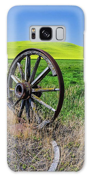 Rustic Wagon Wheel In The Palouse Galaxy Case by James Hammond