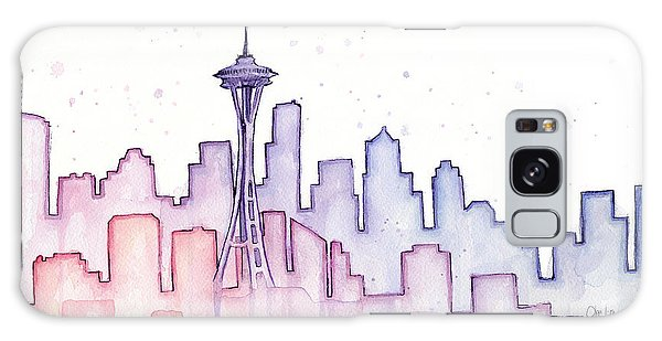 Seattle Skyline Galaxy S8 Case - Seattle Skyline Watercolor by Olga Shvartsur