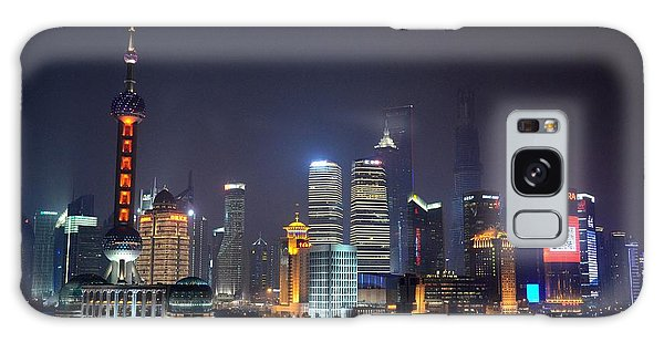 Shanghai China Skyline At Night From Bund Galaxy Case