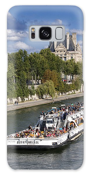 Louvre Galaxy S8 Case - Sightseeing Boat On River Seine To Louvre Museum. Paris by Bernard Jaubert