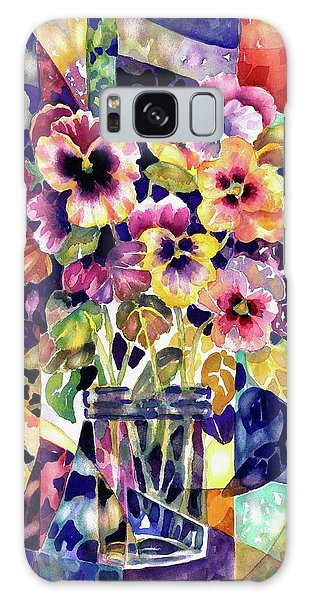 Stained Glass Pansies Galaxy Case
