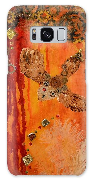 Steampunk Owl Red Horizon Galaxy Case