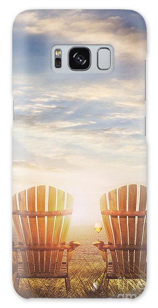 Galaxy Case featuring the photograph Summer Chairs Sand Dunes And Ocean In Background by Sandra Cunningham