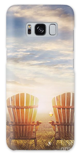 Summer Chairs Sand Dunes And Ocean In Background Galaxy Case