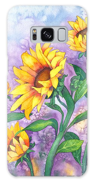 Galaxy Case featuring the painting Sunny Sunflowers by Kristen Fox