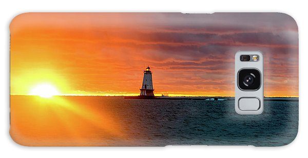 Sunset And Lighthouse Galaxy Case