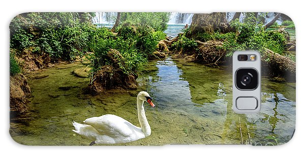 Swan In The Waterfalls Of Skradinski Buk At Krka National Park In Croatia Galaxy Case