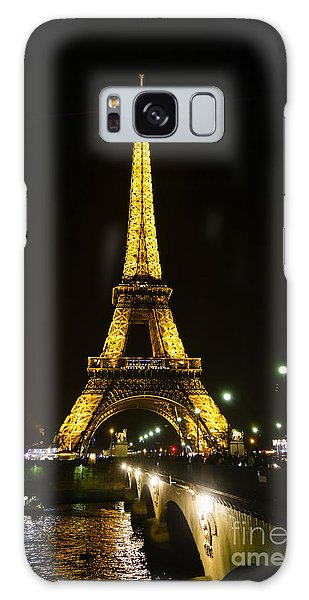 The Eiffel Tower At Night Illuminated, Paris, France. Galaxy Case by Perry Van Munster