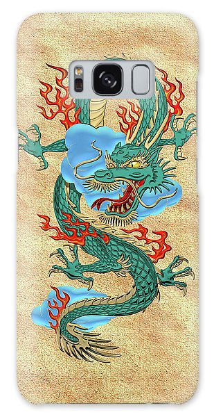 The Great Dragon Spirits - Turquoise Dragon On Rice Paper Galaxy Case by Serge Averbukh