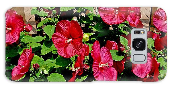 Tropical Red Hibiscus Bush Galaxy Case by Marsha Heiken