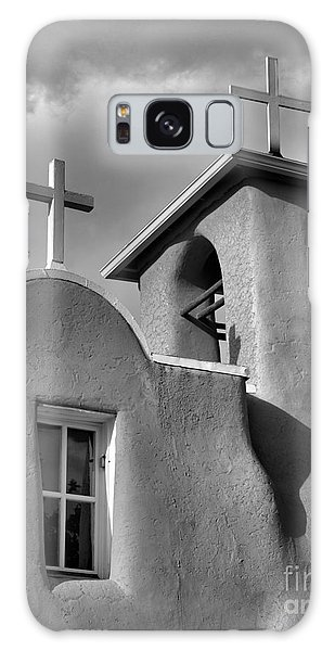 Two Crosses At San Francisco De Asis Mission Church In Black And White Galaxy Case by Nadalyn Larsen