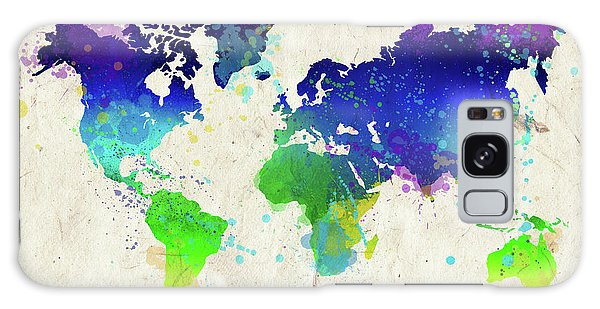 Wall Paper Galaxy Case - Watercolor World Map by Delphimages Photo Creations