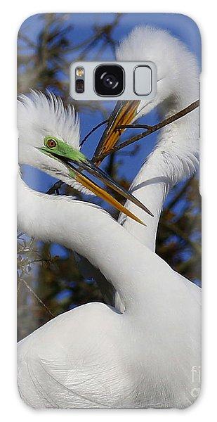 White Egrets Working Together Galaxy Case by Myrna Bradshaw