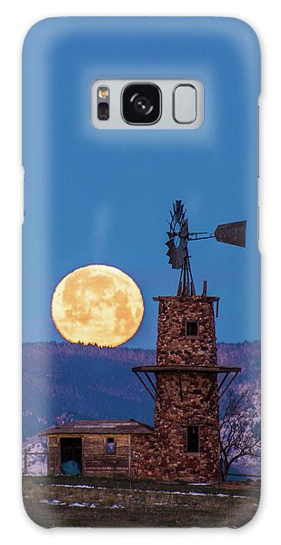 Windmill At Moonset Galaxy Case