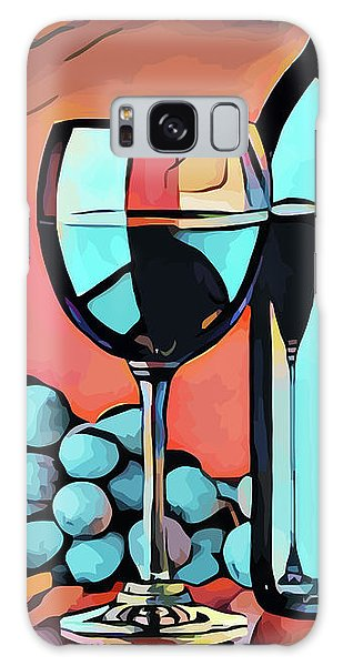 Wine Glass Bottle And Grapes Abstract Pop Art Galaxy Case
