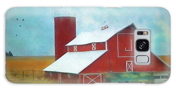 Winter Red Barn Galaxy Case